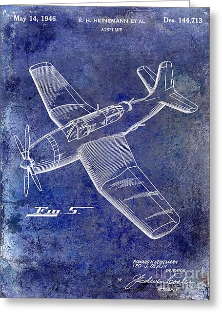 Antique Airplane Greeting Cards - 1946 Airplane Patent Blue Greeting Card by Jon Neidert