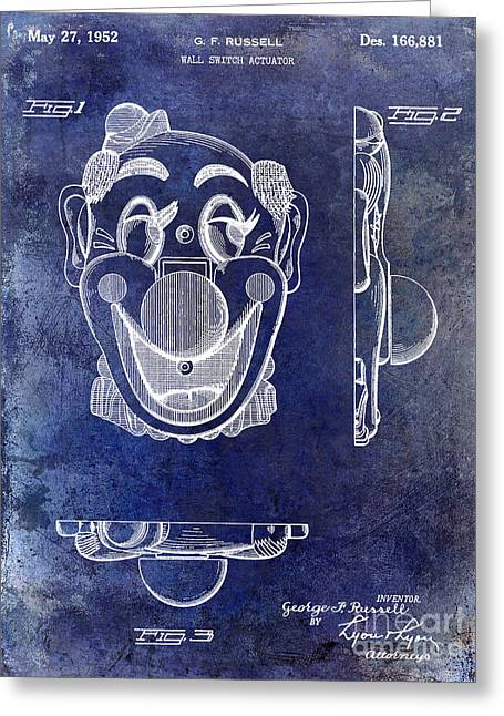 Clown Greeting Cards - 1952 Clown Light Switch Patent Blue Greeting Card by Jon Neidert