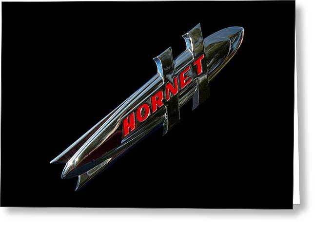 Collector Hood Ornament Greeting Cards - 1952 Hudson Hornet Emblem Greeting Card by Nick Gray