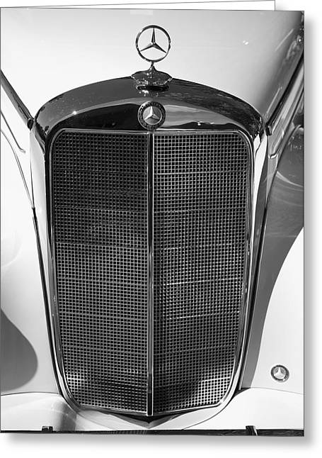 Collector Hood Ornament Greeting Cards - 1952 Mercedes-Benz 220 Greeting Card by Brooke Roby