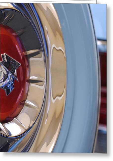 Car Part Greeting Cards - 1954 Mercury Monterey Merco Matic Spare Tire Greeting Card by Jill Reger