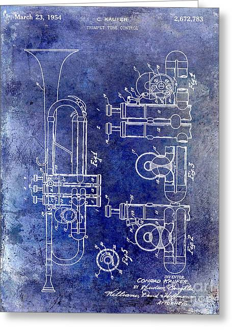 Philharmonic Greeting Cards - 1954 Trumpet Patent Greeting Card by Jon Neidert