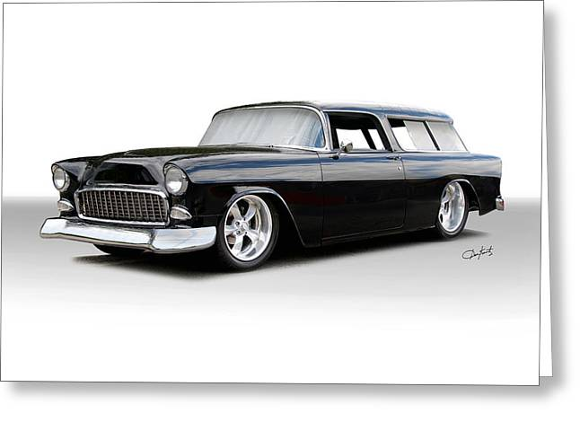Slam Greeting Cards - 1955 Chevrolet Nomad Wagon Greeting Card by Dave Koontz