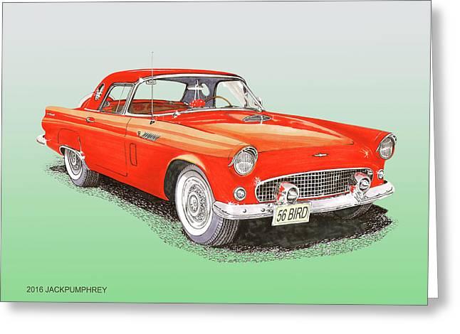 1956 Ford Thunderbird Greeting Card by Jack Pumphrey