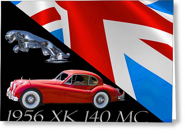 Jaguars Greeting Cards - 1956 Jaguar X K 140 M C Greeting Card by Jack Pumphrey