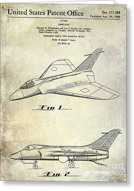 Antique Airplane Greeting Cards - 1956 Jet Airplane Patent 2 Blue Greeting Card by Jon Neidert