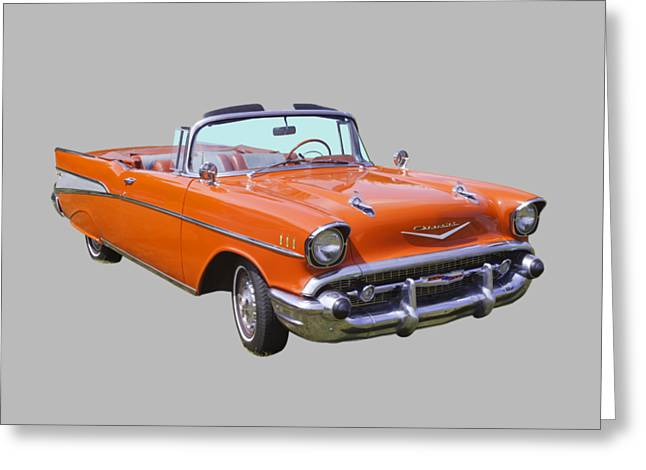 Eyebrow Greeting Cards - 1957 Chevrolet Bel Air 2-door Convertible Greeting Card by Keith Webber Jr