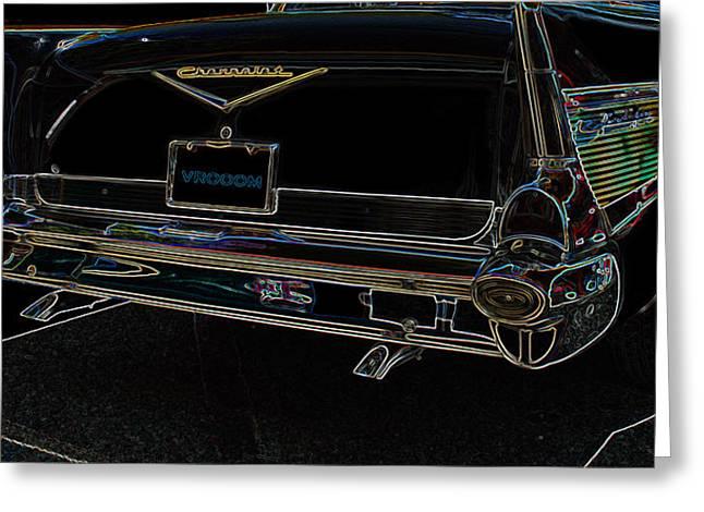 Antique Cars Greeting Cards - 1957 Chevrolet REAR VIEW Art Black_VAROOOM TAG Greeting Card by Lesa Fine