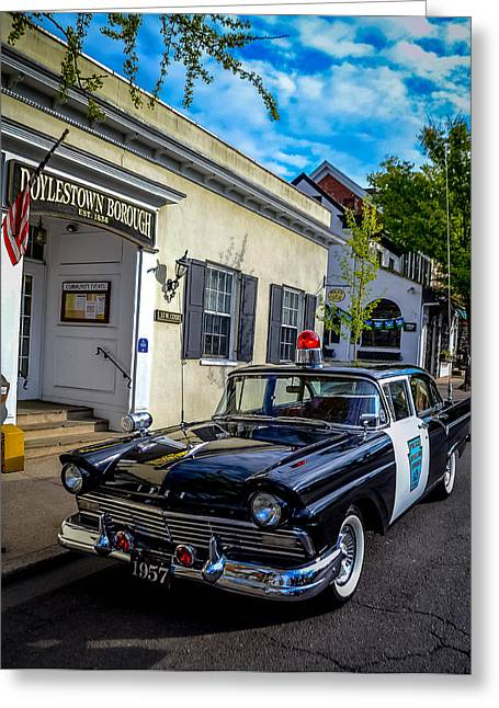 Police Cruiser Greeting Cards - 1957 Doylestown Borough Police Cruiser Greeting Card by Michael Brooks