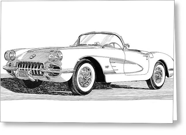 Art Of Muscle Greeting Cards - 1960 Corvette Greeting Card by Jack Pumphrey