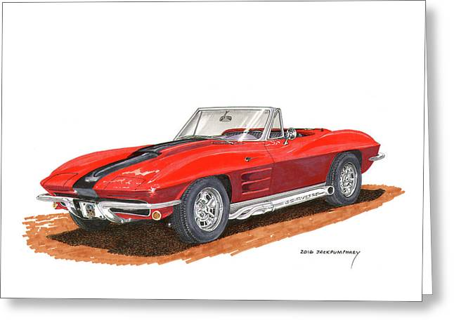 1963 Corvette Stingraw Roadster Greeting Card by Jack Pumphrey