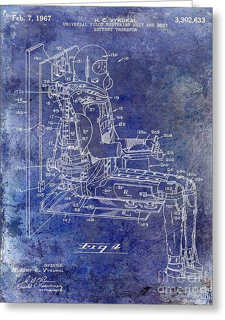 Neil Armstrong Greeting Cards - 1967 Pilot G Suit Patent Blue Greeting Card by Jon Neidert
