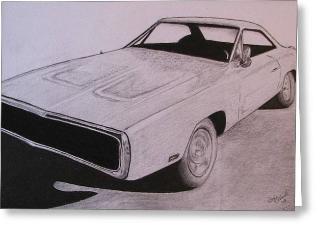 Plum Drawings Greeting Cards - 1970 Dodge Charger Greeting Card by Gayle Caldwell