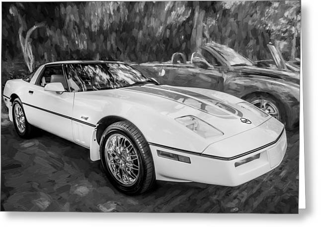Rally Greeting Cards - 1984 Chevrolet Corvette Painted BW  Greeting Card by Rich Franco