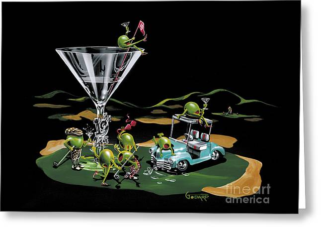 Cart Greeting Cards - 19th Hole Greeting Card by Michael Godard