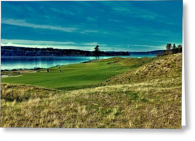 Us Open Greeting Cards - #2 at Chambers Bay Golf Course Greeting Card by David Patterson