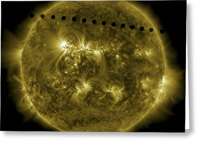 Solar Flare Greeting Cards - 2012 Transit Of Venus Moving Greeting Card by Stocktrek Images