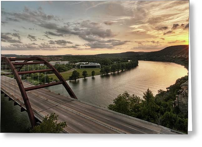 360 Bridge Sunset Greeting Card by Todd Aaron