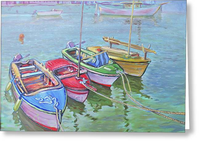4 Fishing Boats Greeting Card by Philip Gianni