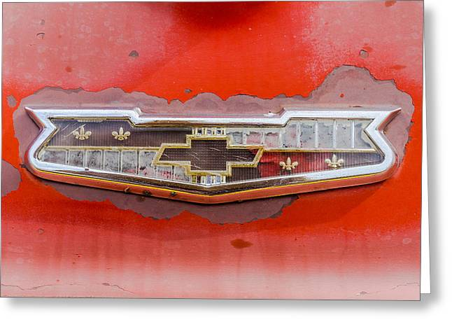 Rusted Cars Greeting Cards - 50s Chevrolet logo Greeting Card by Jim Hughes