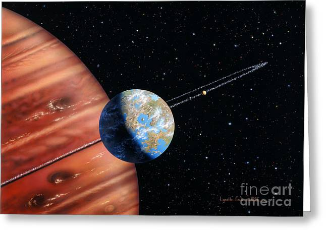 Outer Space Mixed Media Greeting Cards - 70 Virginis b and Moons Greeting Card by Lynette Cook