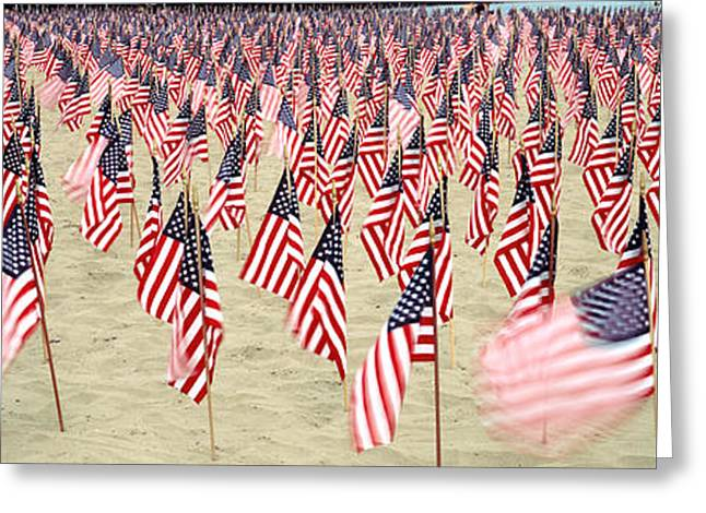 9-11 Greeting Cards - 911 Tribute Flags, Pepperdine Greeting Card by Panoramic Images