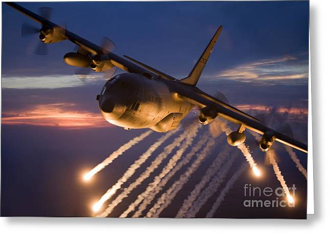 Single Greeting Cards - A C-130 Hercules Releases Flares Greeting Card by HIGH-G Productions