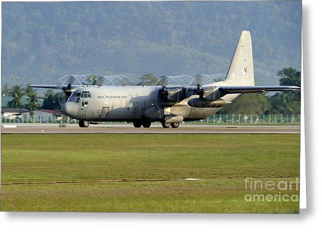 A C-130j Hercules Of The Royal Greeting Card by Remo Guidi