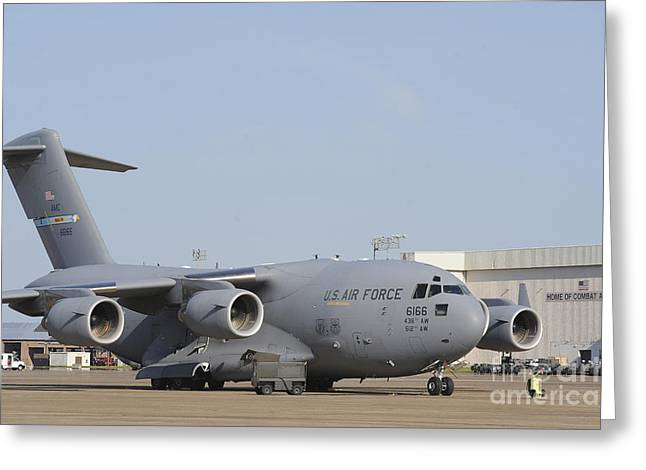 Military Base Greeting Cards - A C-17 Globemaster Iii Parked Greeting Card by Stocktrek Images