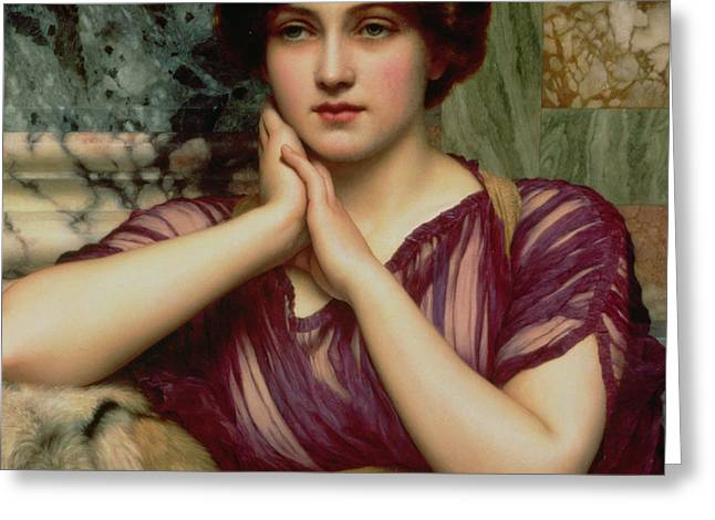 Tiger Dream Greeting Cards - A Classical Beauty Greeting Card by John William Godward