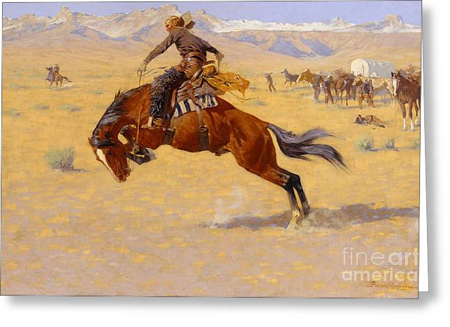 Yellow Brown Greeting Cards - A Cold Morning on the Range Greeting Card by Frederic Remington