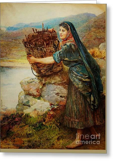 A Connemara Girl Greeting Card by Arthur Hopkins