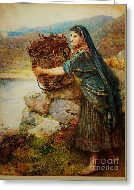 A Summer Evening Greeting Cards - A Connemara Girl Greeting Card by Arthur Hopkins