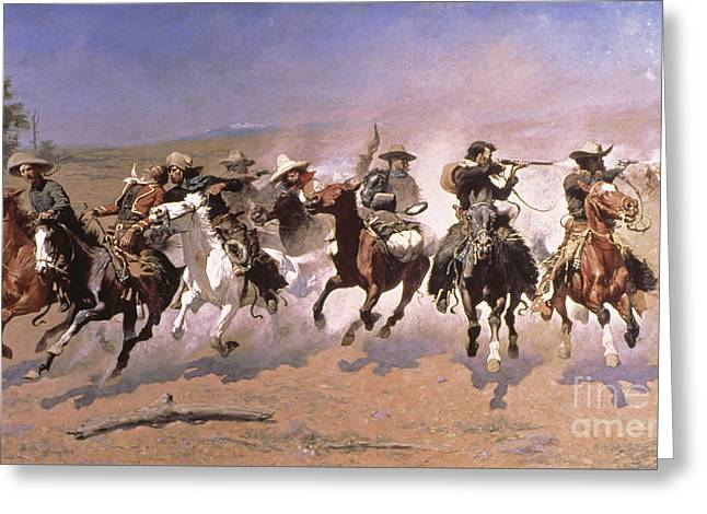 A Dash For The Timber Greeting Card by Frederic Remington