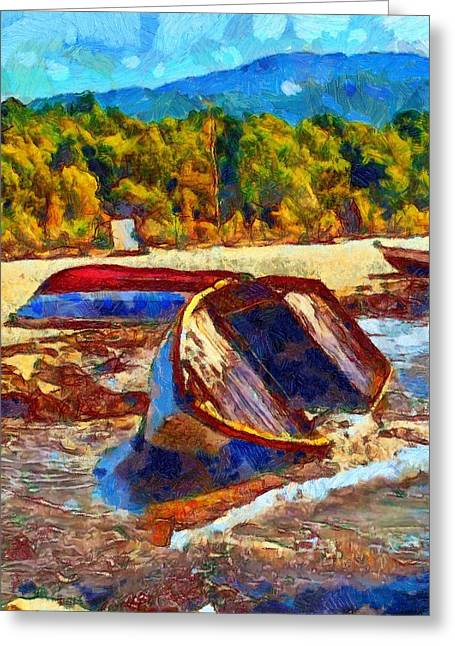 Van Gogh Style Greeting Cards - A digitally constructed painting of a beached fishing boat in Van Gogh style Greeting Card by Ken Biggs