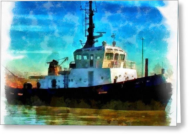 Industrial Background Greeting Cards - A digitally constructed painting of a tugboat in aquarelle style Greeting Card by Ken Biggs