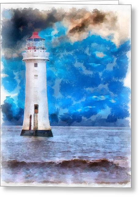 Summer Storm Greeting Cards - A digitally constructed painting of  lighthouse in aquarelle style Greeting Card by Ken Biggs