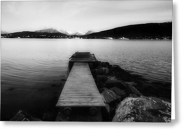 Norway Harbor Greeting Cards - A Dockside View Of Norway Greeting Card by Jay Mantri