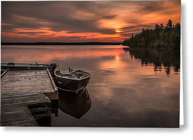 Docked Boat Pyrography Greeting Cards - A Fishermans Sunrise Greeting Card by Rick Strobaugh