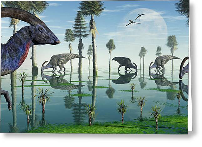 Best Sellers -  - Stream Digital Art Greeting Cards - A Group Of Parasaurolophus Duckbill Greeting Card by Mark Stevenson