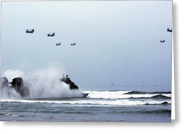 Usaf Greeting Cards - A landing craft air cushion Greeting Card by Celestial Images