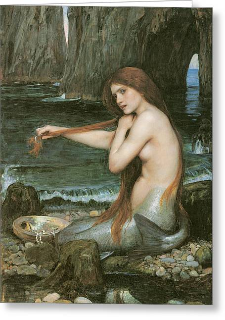 Ocean Shore Paintings Greeting Cards - A Mermaid Greeting Card by John William Waterhouse