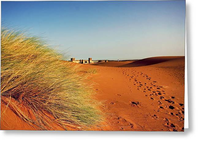 Sand Castles Greeting Cards - A moroccan desert scenery with sand dunes desert grass plantati Greeting Card by Jozef Klopacka