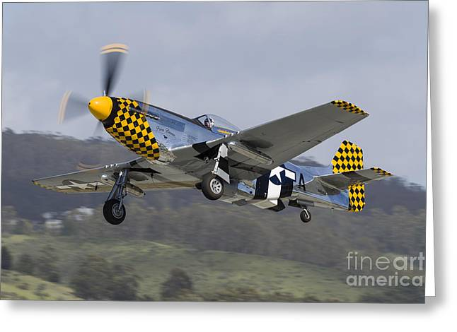 A P-51 Mustang Takes Off From Half Moon Greeting Card by Rob Edgcumbe