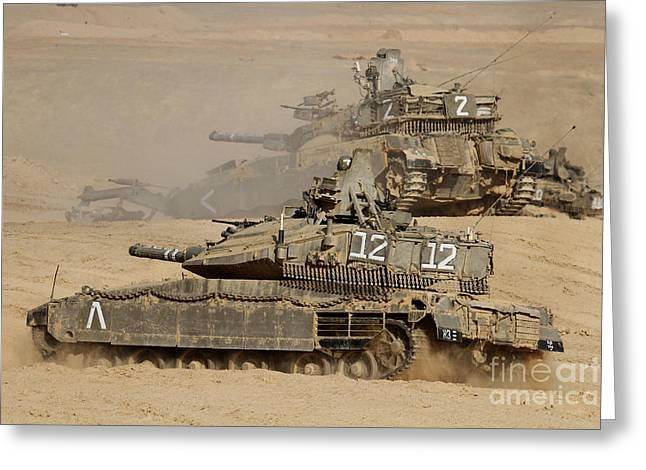 Battleground Greeting Cards - A Pair Of Israel Defense Force Merkava Greeting Card by Ofer Zidon