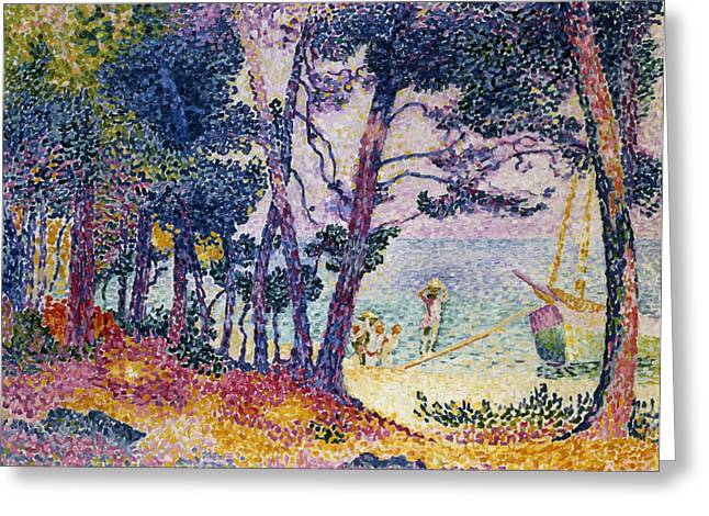 Sun Spots Greeting Cards - A Pine Grove Greeting Card by Henri-Edmond Cross