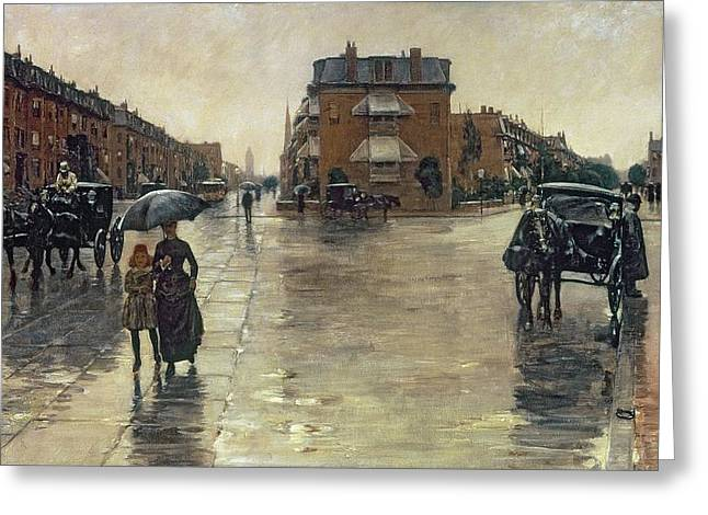 Wet Greeting Cards - A Rainy Day in Boston Greeting Card by Childe Hassam
