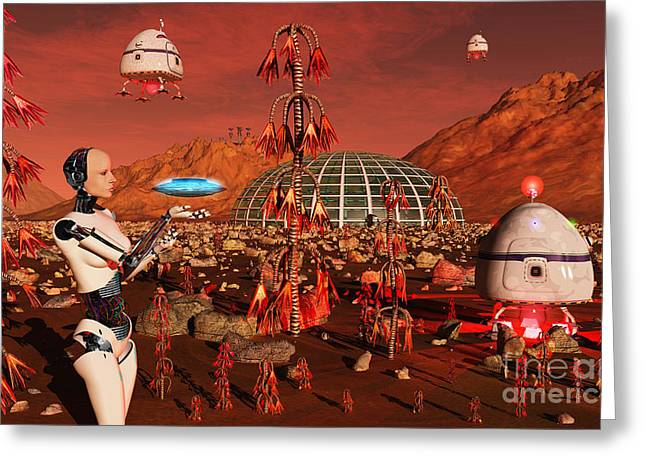 Civilization Greeting Cards - A Robot And Landing Craft Making Greeting Card by Mark Stevenson