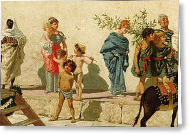 Pan Pipes Greeting Cards - A Roman Street Scene with Musicians and a Performing Monkey Greeting Card by Modesto Faustini