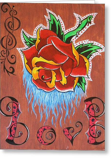 Drip Greeting Cards - A Rose for the Wife Greeting Card by Landon Clary